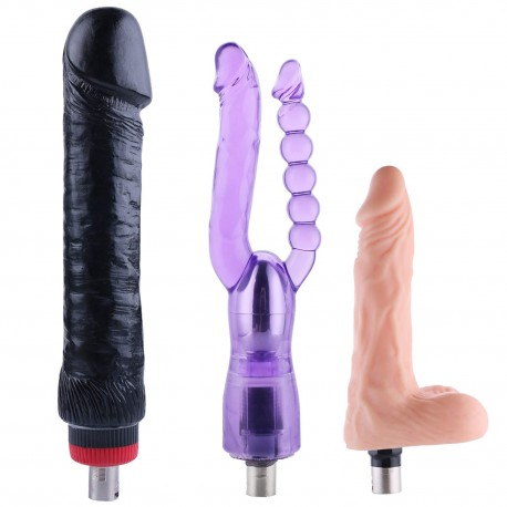 Basic Sex Machine Attachments with G Spot Vibrator Realistic Black Dildo Double Anal Dildo - 3XLR Connector